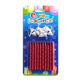 0113 свечи тортовые классические рубиновые 10 шт