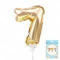 К 7 Набор Цифра 7 Золото, трубочка, держатель, в упаковке