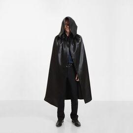 Карнавальный плащ черный с капюшоном, длина 120 см