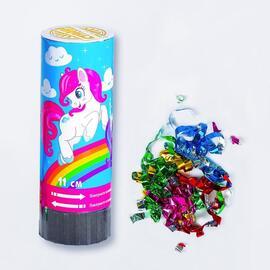 """Хлопушка пружинная """"Пони"""" конфетти+фольга серпантин 11 см"""