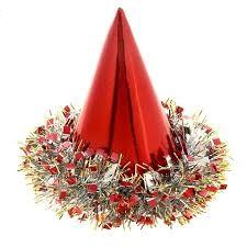 Карнавальный колпак голография дождик внизу цвет красный 305929