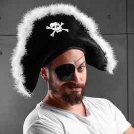 Карнавальная шляпа Пират, белый пух