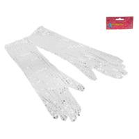 Карнавальные перчатки три четверти серебро блеск
