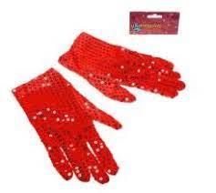 Карнавальные перчатки три четверти красные  блеск