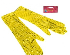 Карнавальные перчатки три четверти желтые блеск