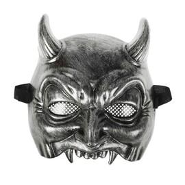 """Карнавальная маска пластик """"Черт"""", цвет серебро"""