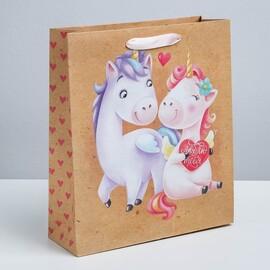 Пакет вертикальный крафтовый «Любовь любовь», M 26 × 30 × 9 см