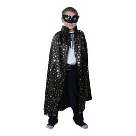 Карнавальный плащ черный с золотыми маленькими звездами с воротником,маска,атлас,длина 85см