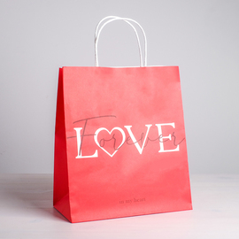 Пакет подарочный крафт LOVE Forever, 28 х 32 х 15 см