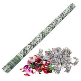 """Хлопушка поворотная """"Доллар"""" (серпантин бумага, доллары) 80 см"""