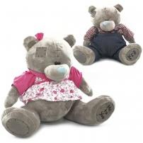 Мягкая игрушка Мишка Тедди, велюр, в платье, 42 см