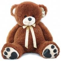 Мягкая игрушка Медведь коричневый, беж с желтой лентой 60 см
