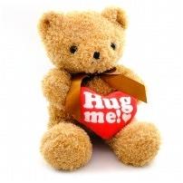 Мягкая игрушка Медведь кудрявый, с сердцем hug me, 30 см