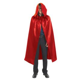Карнавальный  плащ красный с копюшоном, длина 120 см   3555493